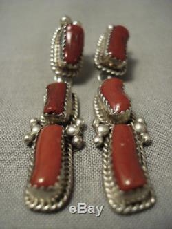 Huge Chunk Coral Vintage Navajo Sterling Silver Earrings