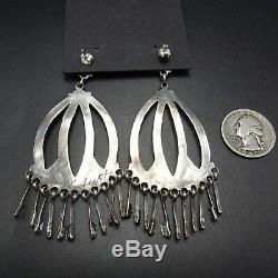 Huge Fabulous ZUNI Sterling Silver TURQUOISE Needlepoint EARRINGS Kevin Leekity