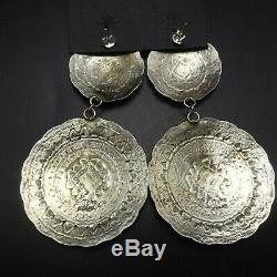 Huge NAVAJO Hand-Stamped Sterling Silver CONCHO EARRINGS BY Leander Tahe