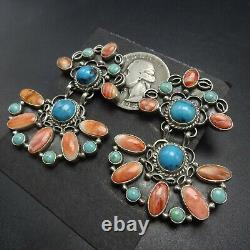 Huge NAVAJO Sterling Silver TURQUOISE and SPINY OYSTER SHELL Cluster EARRINGS