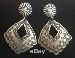Huge Native American Navajo Sterling Silver Concho Earrings by Vincent Platero