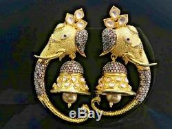 Indian Big Jhumka Earrings Jhumki Wedding Bollywood Set 22K Matt Gold Plated 300