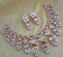 Indian Bollywood CZ AD Fashion Gold & Silver Jewelry Ruby Necklace Earrings SJ35