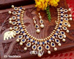 Indian Bollywood CZ AD Gold Plated Fashion Bridal Blue Cz Necklace Earring Set