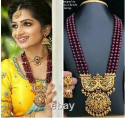 Indian Bollywood Gold Plated Bridal Necklace Earrings Set jewelry Long Haram