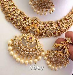 Indian Bollywood Gold Plated CZ AD Choker Choker Necklace Earrings Jewellery Set