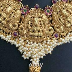 Indian Bollywood Jewelry Bridal Necklace Earrings Jhumka Temple Choker Kasu Set