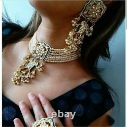 Indian Bollywood Jewelry Bridal Pearl Choker Kundan Necklace Earrings Set