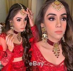 Indian Bollywood Jewelry Bridal Red Choker Kundan Necklace Earrings Set Pearl