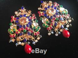 Indian Bollywood Long Gold Plated MULTI Beads Jewelry Necklace-45cm, Earrings Set