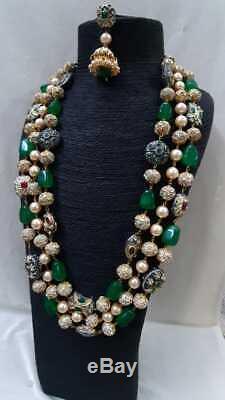 Indian Bollywood Long Kundan Necklace Earring Jewelry Crystal Set Raani Haar