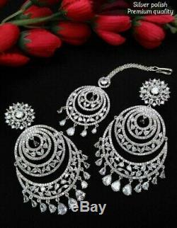 Indian Bollywood Silver CZ AD Chandbali Earrings Tikka Set Fashion Jewelery