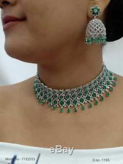 Indian Bollywood Style Gold Plated CZ Choker Necklace Jhumka Earrings Set