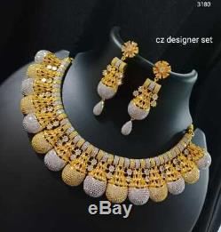 Indian Bollywood Style Gold Plated CZ Choker Necklace Jhumka Earrings Set ghg