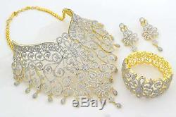 Indian CZ AD Bollywood Necklace Set Bracelet Earring Wedding Swam Jewelry 154