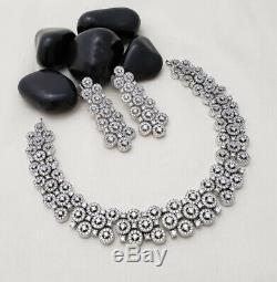 Indian CZ Necklace Earrings Jewelry Set Bollywood Silver Fashion Choker Bridal