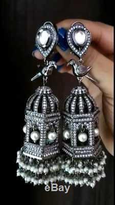 Indian Cz Jhumka Earrings Jhumki Wedding Bollywood Set Antique Silver Plated