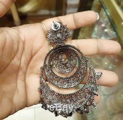 Indian Cz swarovski Chandbali Earrings Jhumki Wedding Bollywood Set Antique
