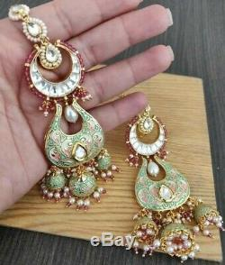 Indian Enameled Long Earring Jhumki Jewelry Real kundan Pearl Bell Earrings Set