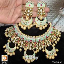 Indian Ethnic Bridal Choker Kundan Pearl Necklace Earrings Set Bollywood Wedding