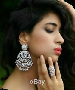 Indian Ethnic Fashion CZ Long Bollywood Wedding Wear Jewelry Earring Set