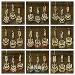 Indian Fashion Bollywood Gold Plated Kundan Long Earrings Wedding Women Jewelry