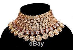 Indian Genuine Traditional Bridal Kundan Statement Necklace Set Teeka Earrings