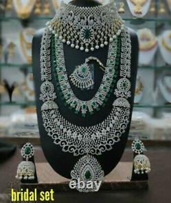 Indian Gold Plated Bollywood Bridal CZ Jewelry Necklace Jhumka Earrings Set