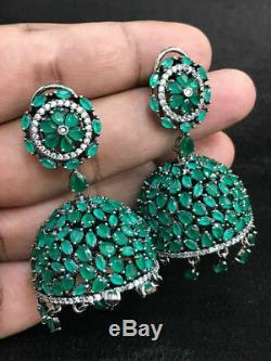 Indian Gold Plated Cz Jhumka Earrings Jhumki Wedding Bollywood Green AD Emerald