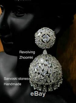 Indian Gold Plated Cz Jhumka Earrings Jhumki Wedding Bollywood Set Antique StoTH
