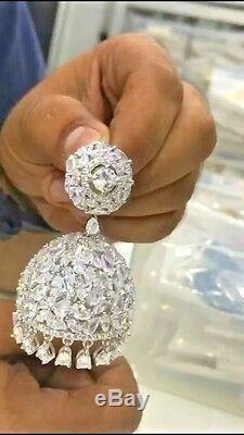 Indian Gold Plated Cz Jhumka Earrings Jhumki Wedding Bollywood Set Antique Stone