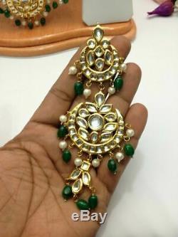Indian Green Rani Haar Heavy Bridal Choker Set Necklace Earrings Kundan Fashion
