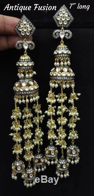 Indian Handmade 7 Long Earring Jhumki Jewelry Pachi kundan Pearl Bell Earrings