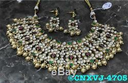 Indian Hasli Kundan Choker Jewelry Bridal Wear Real Polki Necklace Earrings Set