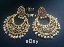 Indian Jewellery Necklace Earrings Bridal Mala Choker Jhumka Tika Multi Color