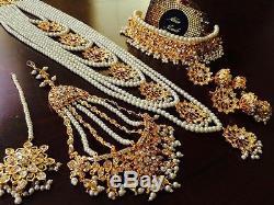 Indian Jewellery Necklace Earrings Bridal Satlara Choker Jhumka pearl Gold