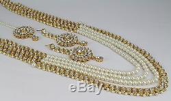 Indian Jewelry New Pearl Kundan Wedding Necklace Set Earring Tikka Rani Haar