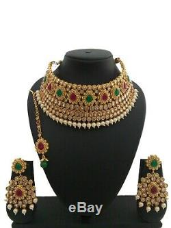 Indian Jewelry choker Necklace Earring tikka Bollywood Ethnic Gold Plated Set