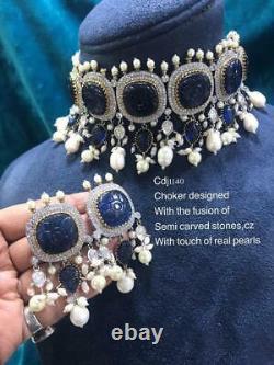 Indian Kundan Pakistani Pearl Necklace Choker Earrings Set Bollywood Jewelry cdh