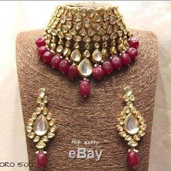 Indian Kundan Red Tumbler Bridal Necklace Earring Set Bollywood Diwali Jewelry