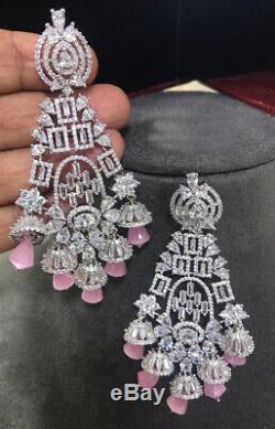 Indian Long Earring Jhumki Jewelry CZ swarovski Crystal Bell Earrings Pink White