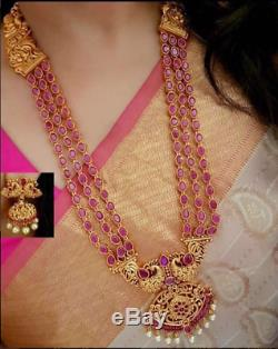 Indian Long Necklace Earrings Laxmi Temple Jewellery Ethnic Gold Plated Set246
