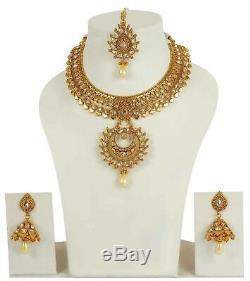 Indian Necklace Gold Plated Bridal Bollywood Fashion Wedding Earrings Jewelry