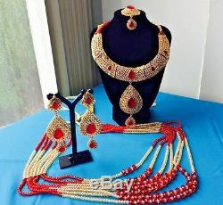 Indian Pakistani Bollywood Style Bridal or Party wear Polki Jewellery Set