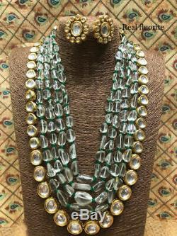 Indian Women Gray Tumbler Kundan Choker Necklace Earrings Set Bollywood Jewelry