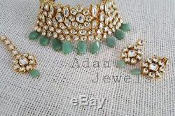 Indian jewellery set choker Earrings Tika semi precious aventurine drops gold