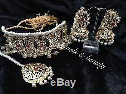 Indian jewellery set, gold Finish earrings necklace Tika Ruby Pearls