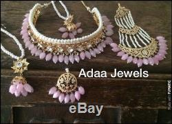 Indian jewellery set gold earrings necklace Tika Jhumar Pearls Choker Baby Pink