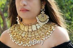 Indian kundan jewelry bridal gold necklace with beautiful earrings & mang tikka