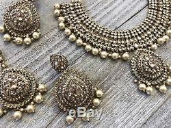 Jhumka Indian Earrings Jewelry Jhumki Bollywood Polki Necklace Tikka Set USA